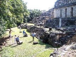 Temples 41, 42 and 43 at Yaxchilan--King Benjamin's Tower Foundation on the upper left portion of this hilltop.