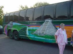 The newly painted bus before it was damaged by the Mexican Taxi Driver.