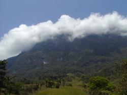 A view of the cloud cover that often shrouds the mountain.
